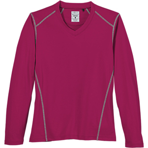 River's End Ladies' Contrast Stitch Long Sleeve V-Neck Tee