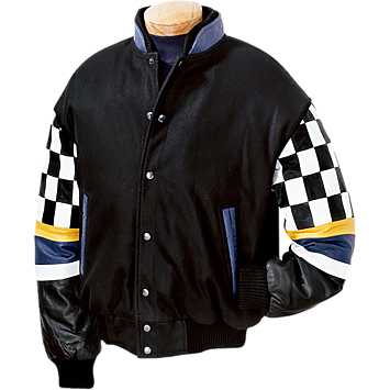 Burk's Bay Men's Wool/Leather Checkered Racing Jacket