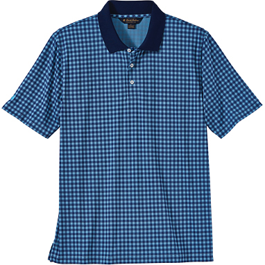 Brooks Brothers Men's Gingham Jersey Short Sleeve Polo