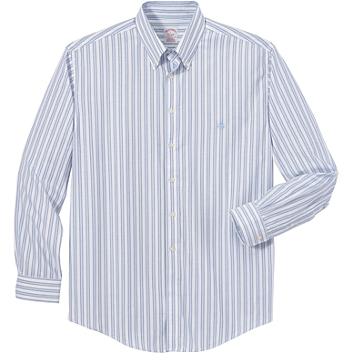 Brooks Brothers Men's Non-Iron Framed Oxford Stripe Long Sleeve Shirt
