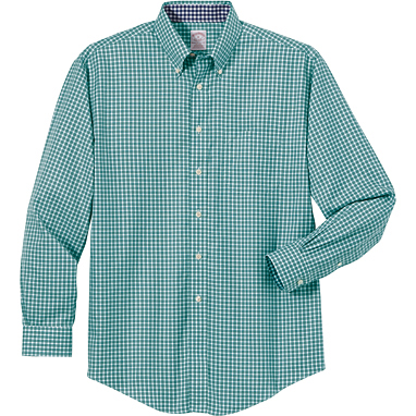 Brooks Brothers Men's Non-Iron Twill Framed Mini-Check Long Sleeve Shirt
