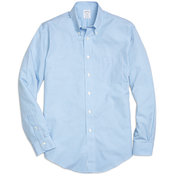 Brooks Brothers Men's Micro Gingham Oxford Long Sleeve Sport Shirt