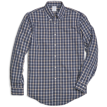 Brooks Brothers Men's Plaid Long Sleeve Sport Shirt