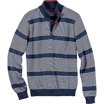 Brooks Brothers Men's Brushed Striped Half-Zip Pullover Sweater