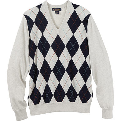 Brooks Brothers Men's Argyle V-Neck Long Sleeve Sweater